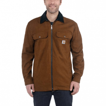vetipro vente en ligne vetements pro veste chemise zippee doublure molleton carhartt oiled walnut 104074 oiled walnut